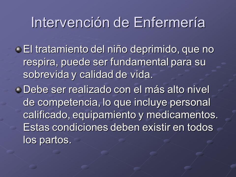 Intervención de Enfermería El tratamiento del niño deprimido, que no respira, puede ser fundamental para su sobrevida y calidad de vida. Debe ser real