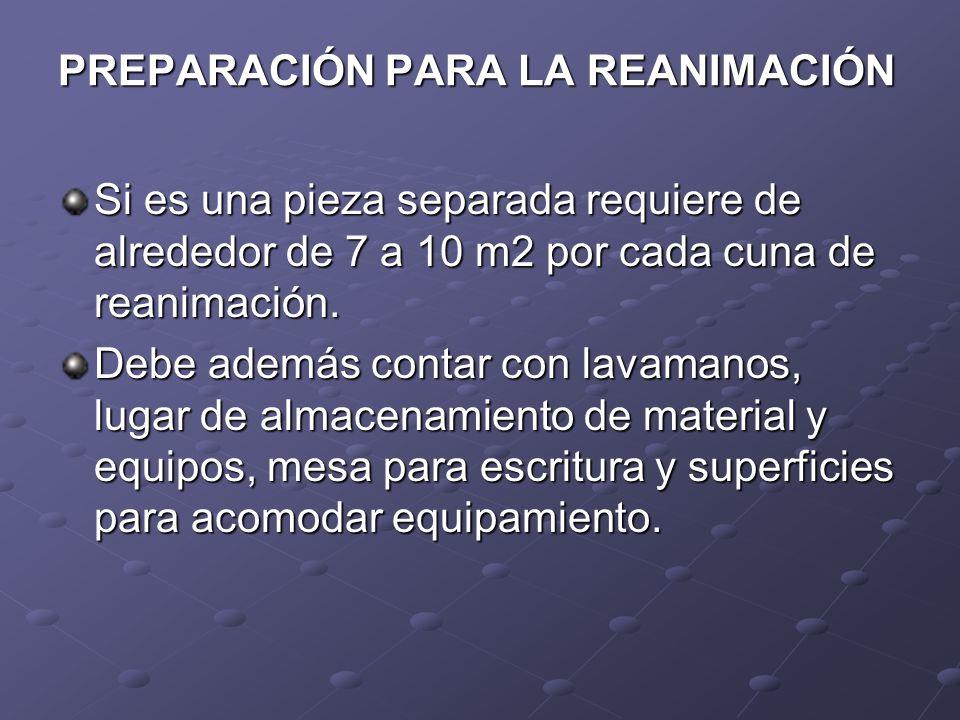 PREPARACIÓN PARA LA REANIMACIÓN Si es una pieza separada requiere de alrededor de 7 a 10 m2 por cada cuna de reanimación. Debe además contar con lavam