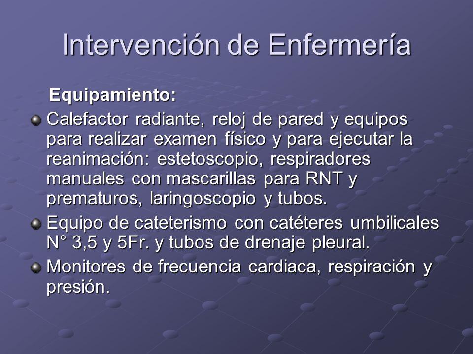 Intervención de Enfermería Equipamiento: Equipamiento: Calefactor radiante, reloj de pared y equipos para realizar examen físico y para ejecutar la re