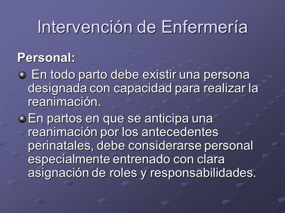 Intervención de Enfermería Personal: En todo parto debe existir una persona designada con capacidad para realizar la reanimación. En todo parto debe e