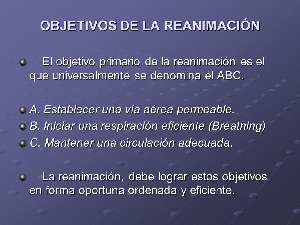 OBJETIVOS DE LA REANIMACIÓN El objetivo primario de la reanimación es el que universalmente se denomina el ABC. El objetivo primario de la reanimación