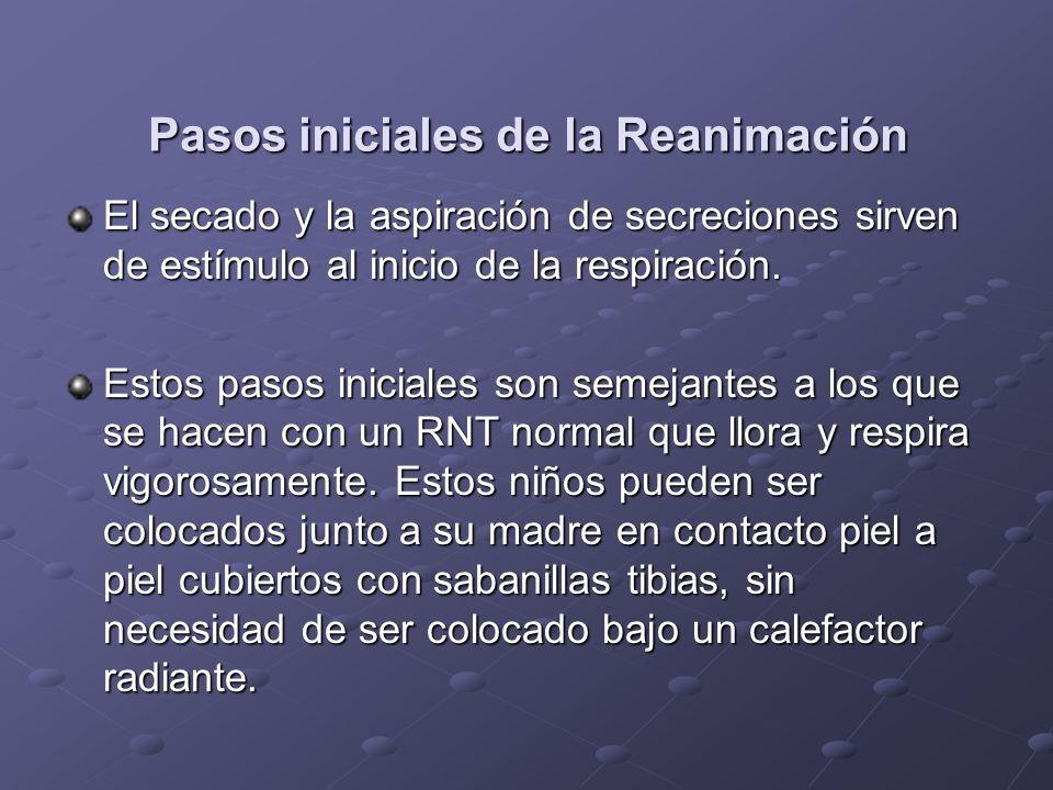 Pasos iniciales de la Reanimación El secado y la aspiración de secreciones sirven de estímulo al inicio de la respiración. Estos pasos iniciales son s
