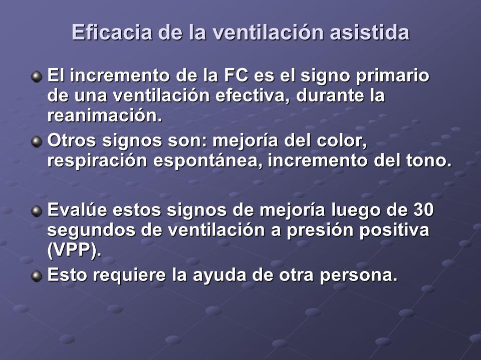 Eficacia de la ventilación asistida El incremento de la FC es el signo primario de una ventilación efectiva, durante la reanimación. Otros signos son:
