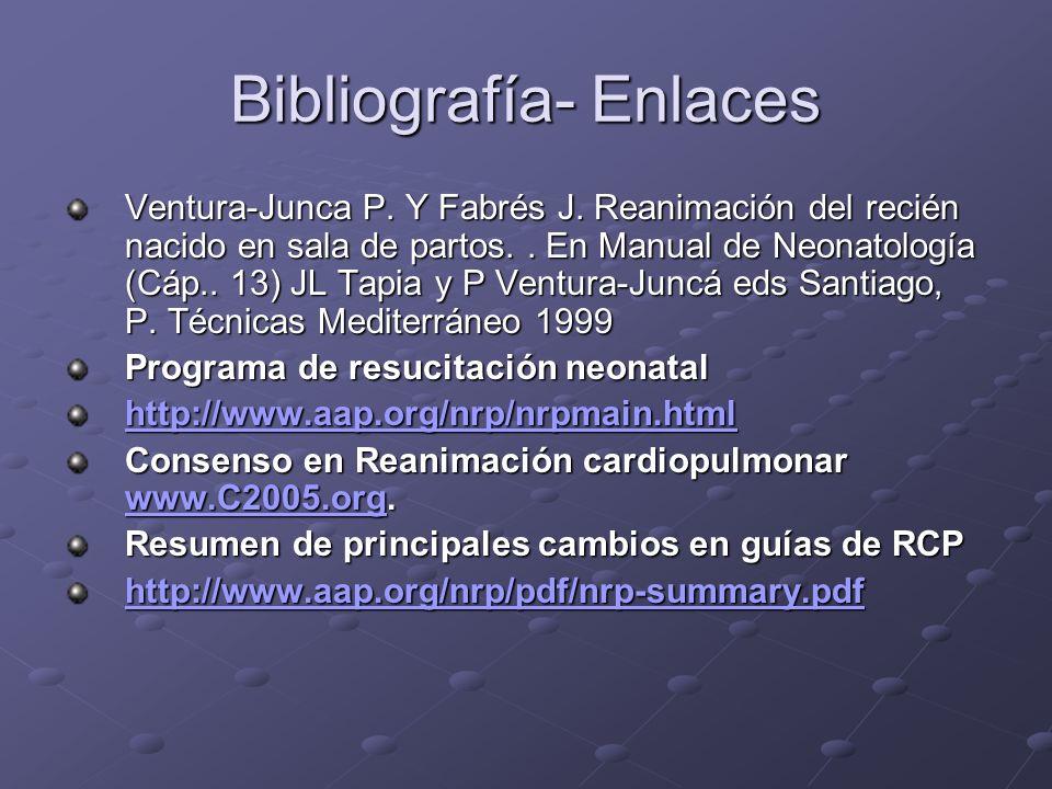Bibliografía- Enlaces Ventura-Junca P. Y Fabrés J. Reanimación del recién nacido en sala de partos.. En Manual de Neonatología (Cáp.. 13) JL Tapia y P