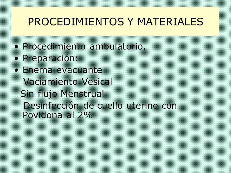PROCEDIMIENTOS Y MATERIALES Materiales: Jeringa ( 20 cc) Caja: espéculo, pinzas, sonda de Risolia Sustancia Radio-opaca