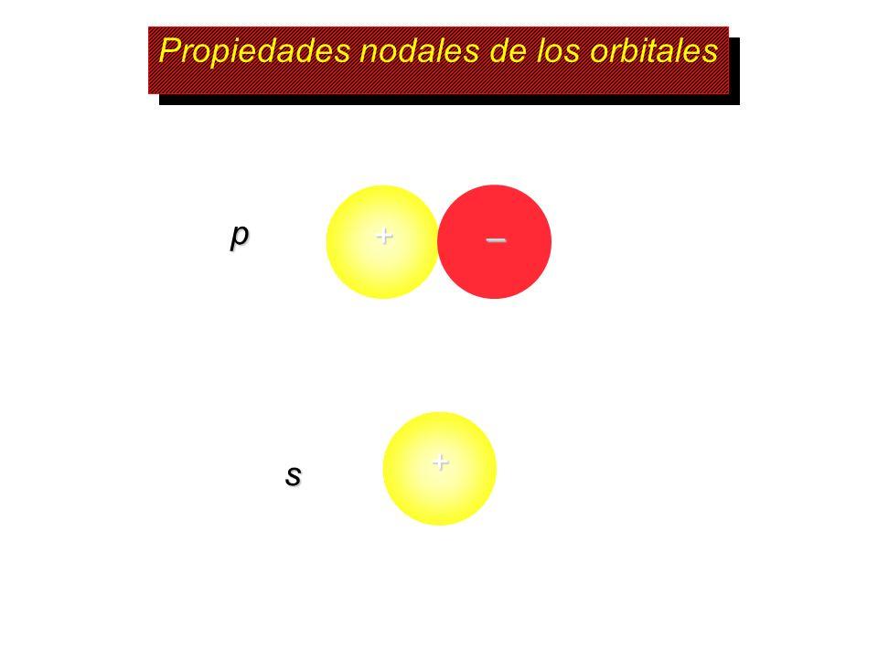 Propiedades nodales de los orbitales s p + – +