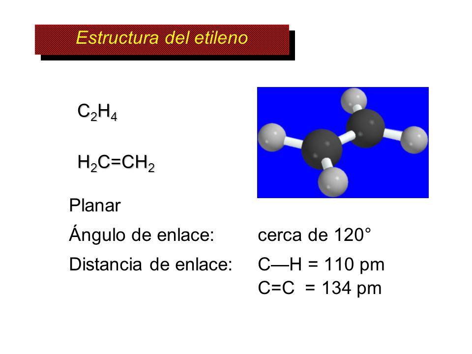 C 2 H 4 H 2 C=CH 2 Planar Ángulo de enlace: cerca de 120° Distancia de enlace: CH = 110 pm C=C = 134 pm Estructura del etileno