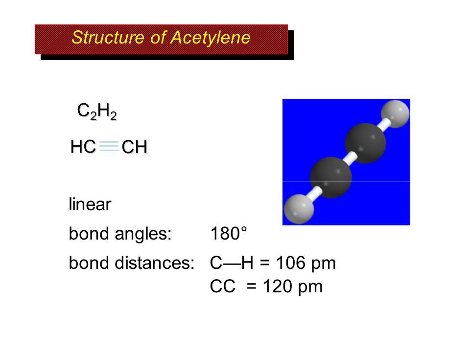 C2H2C2H2C2H2C2H2 linear bond angles: 180° bond distances: CH = 106 pm CC = 120 pm Structure of Acetylene HCCH