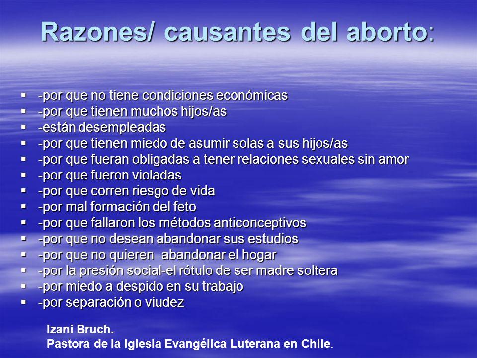 Razones/ causantes del aborto: -por que no tiene condiciones económicas -por que no tiene condiciones económicas -por que tienen muchos hijos/as -por
