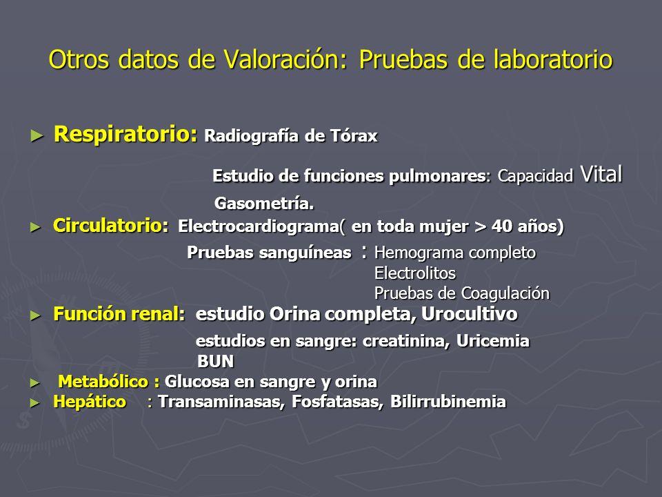 Otros datos de Valoración: Pruebas de laboratorio Respiratorio: Radiografía de Tórax Respiratorio: Radiografía de Tórax Estudio de funciones pulmonare