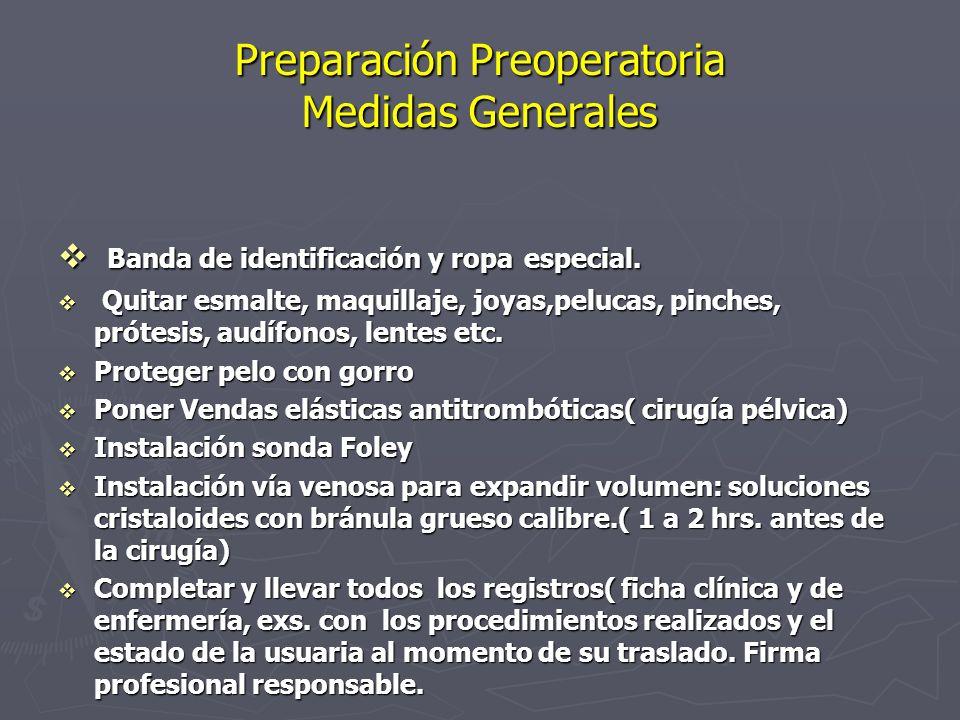 Preparación Preoperatoria Medidas Generales v Banda de identificación y ropa especial. v Quitar esmalte, maquillaje, joyas,pelucas, pinches, prótesis,
