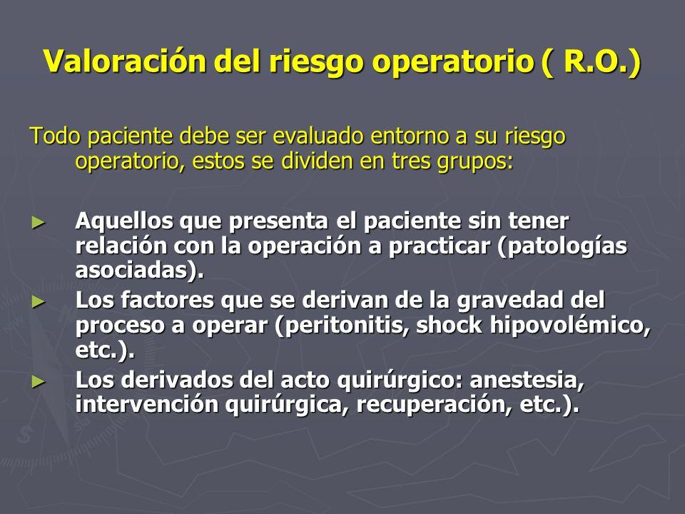 Valoración del riesgo operatorio ( R.O.) Todo paciente debe ser evaluado entorno a su riesgo operatorio, estos se dividen en tres grupos: Aquellos que
