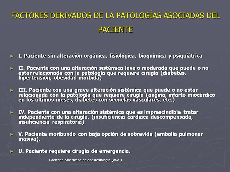 FACTORES DERIVADOS DE LA PATOLOGÍAS ASOCIADAS DEL PACIENTE I. Paciente sin alteración orgánica, fisiológica, bioquímica y psiquiátrica I. Paciente sin