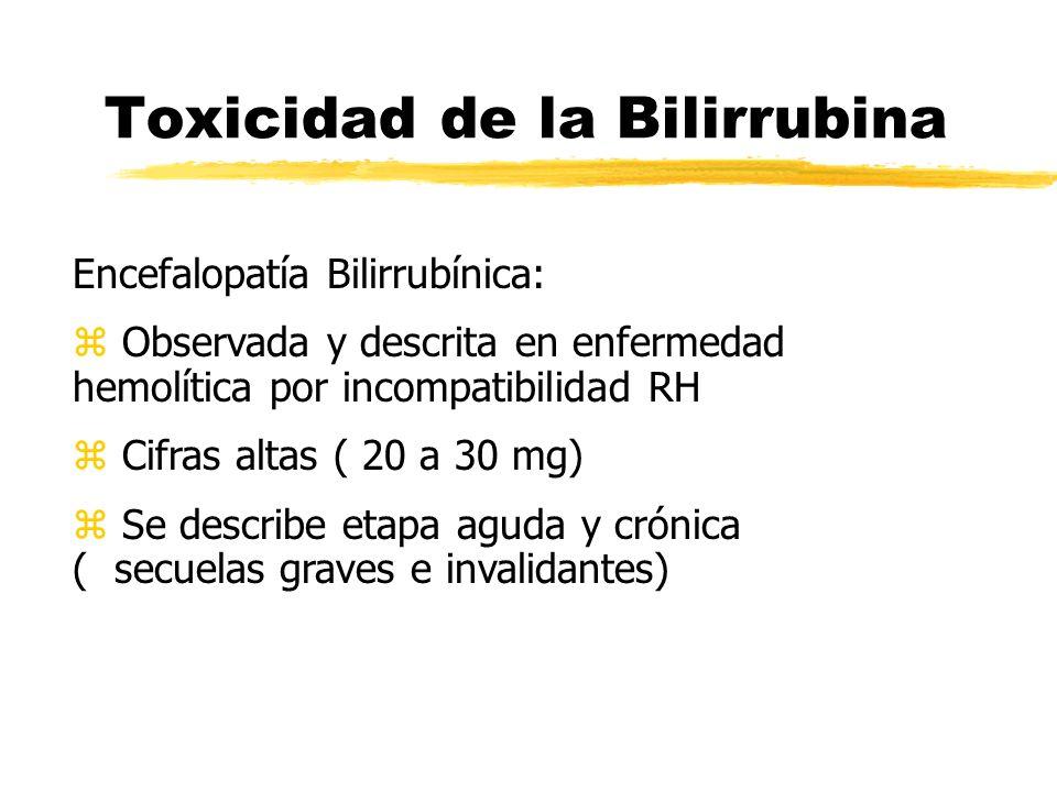 Toxicidad de la Bilirrubina Encefalopatía Bilirrubínica: z Observada y descrita en enfermedad hemolítica por incompatibilidad RH z Cifras altas ( 20 a