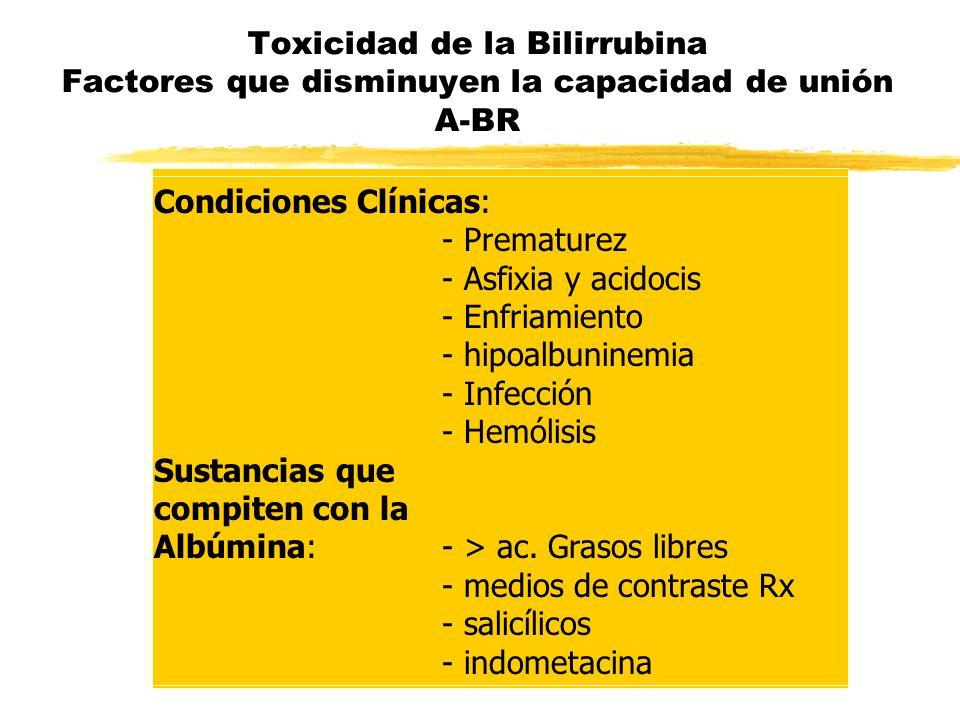 Toxicidad de la Bilirrubina Factores que disminuyen la capacidad de unión A-BR Condiciones Clínicas: - Prematurez - Asfixia y acidocis - Enfriamiento