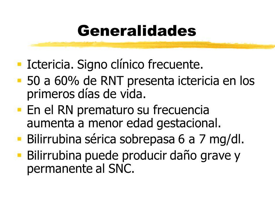 Generalidades Ictericia. Signo clínico frecuente. 50 a 60% de RNT presenta ictericia en los primeros días de vida. En el RN prematuro su frecuencia au