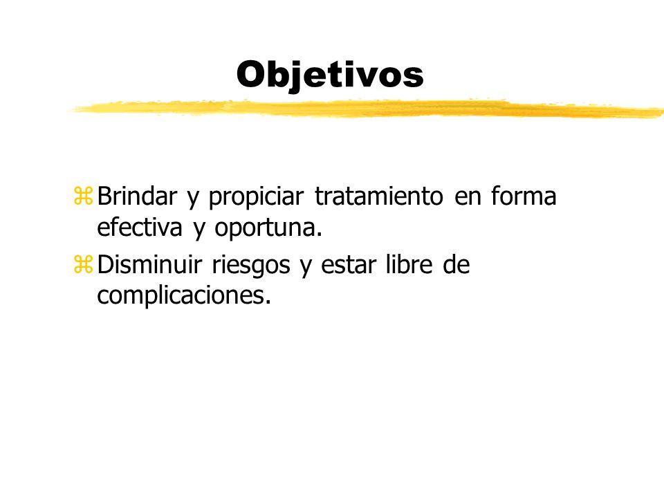 Objetivos z Brindar y propiciar tratamiento en forma efectiva y oportuna. z Disminuir riesgos y estar libre de complicaciones.