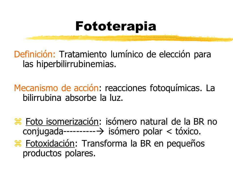 Fototerapia Definición: Tratamiento lumínico de elección para las hiperbilirrubinemias. Mecanismo de acción: reacciones fotoquímicas. La bilirrubina a