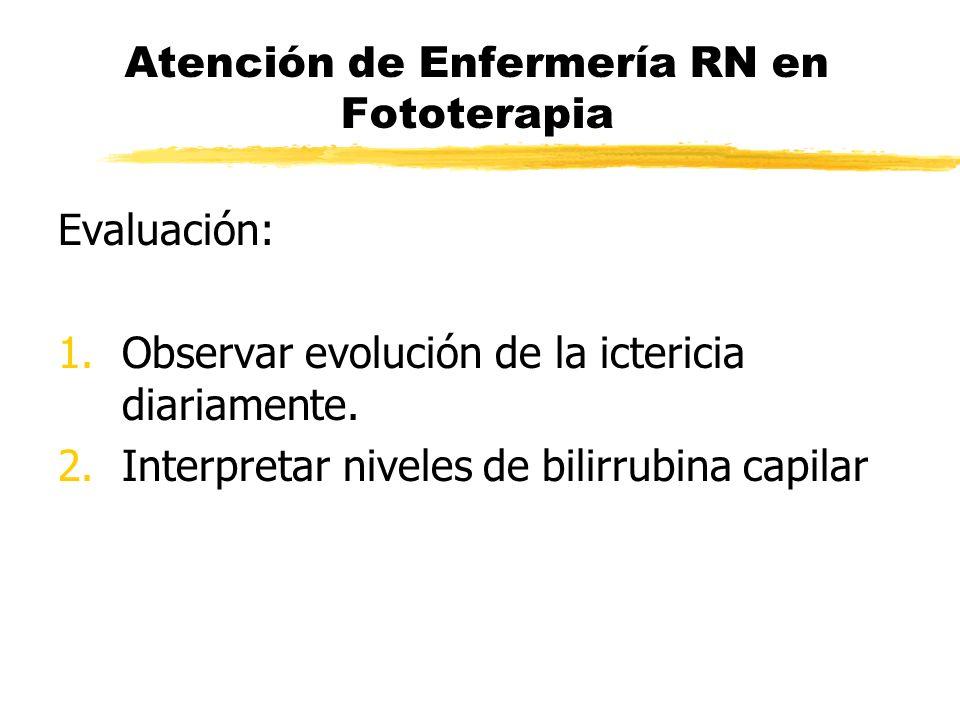 Atención de Enfermería RN en Fototerapia Evaluación: 1.Observar evolución de la ictericia diariamente. 2.Interpretar niveles de bilirrubina capilar