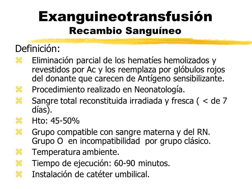 Exanguineotransfusión Recambio Sanguíneo Definición: zEliminación parcial de los hematíes hemolizados y revestidos por Ac y los reemplaza por glóbulos