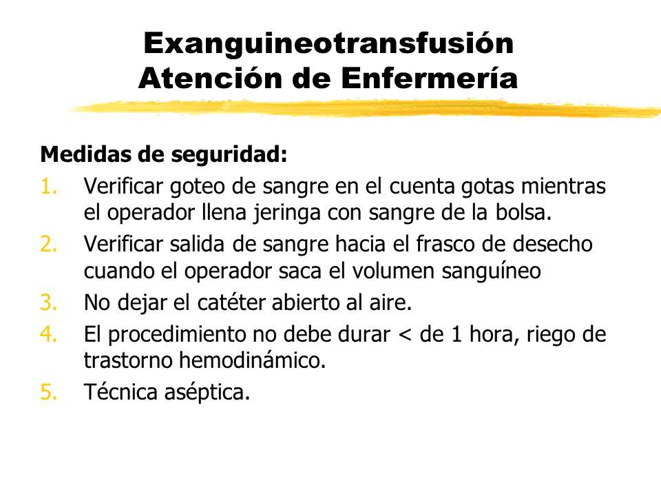 Exanguineotransfusión Atención de Enfermería Medidas de seguridad: 1.Verificar goteo de sangre en el cuenta gotas mientras el operador llena jeringa c