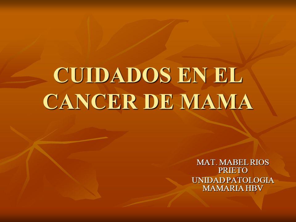 CUIDADOS EN EL CANCER DE MAMA MAT. MABEL RIOS PRIETO UNIDAD PATOLOGIA MAMARIA HBV