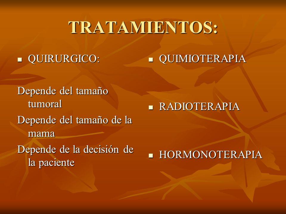 TRATAMIENTOS: QUIRURGICO: QUIRURGICO: Depende del tamaño tumoral Depende del tamaño de la mama Depende de la decisión de la paciente QUIMIOTERAPIA QUI