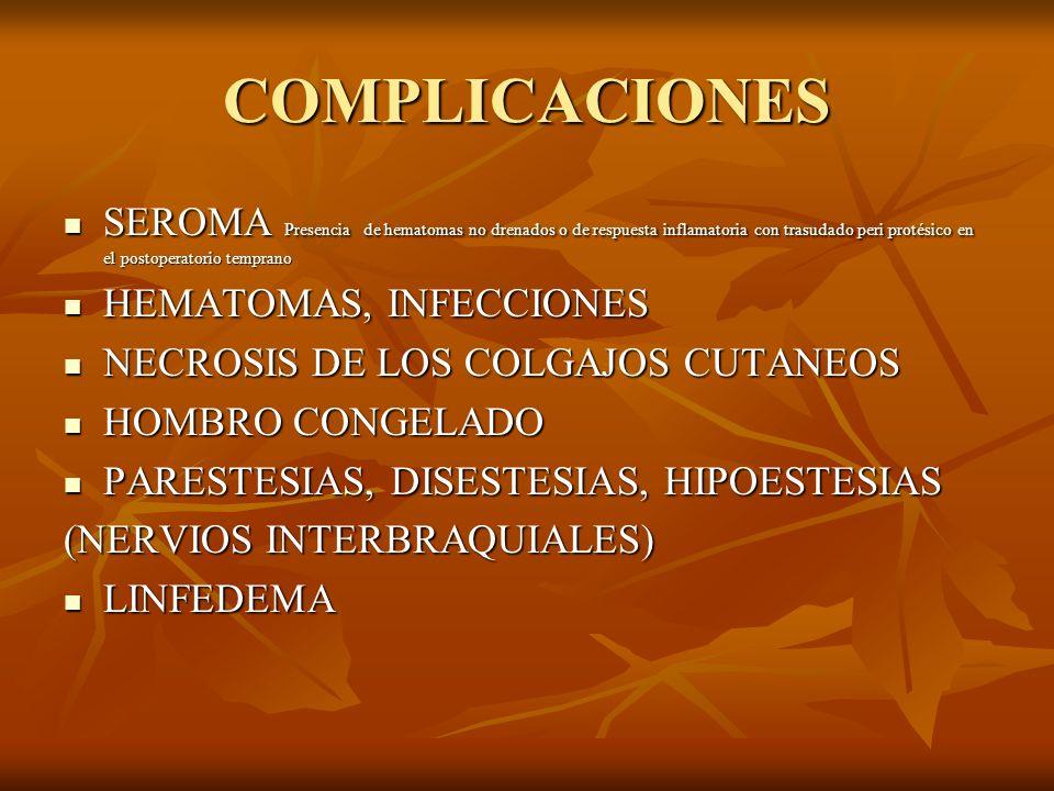 COMPLICACIONES SEROMA Presencia de hematomas no drenados o de respuesta inflamatoria con trasudado peri protésico en el postoperatorio temprano SEROMA