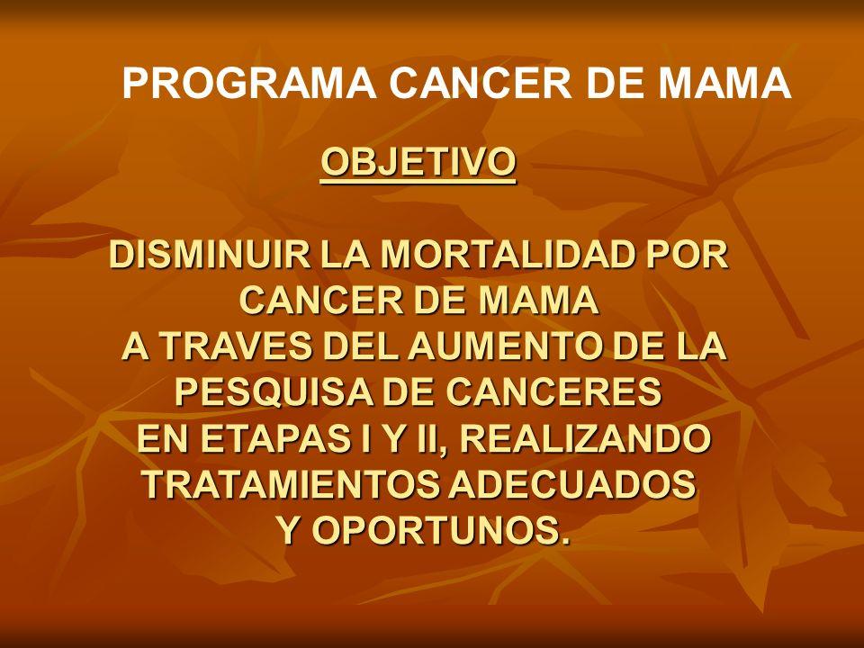 PROGRAMA CANCER DE MAMA OBJETIVO DISMINUIR LA MORTALIDAD POR CANCER DE MAMA A TRAVES DEL AUMENTO DE LA PESQUISA DE CANCERES A TRAVES DEL AUMENTO DE LA
