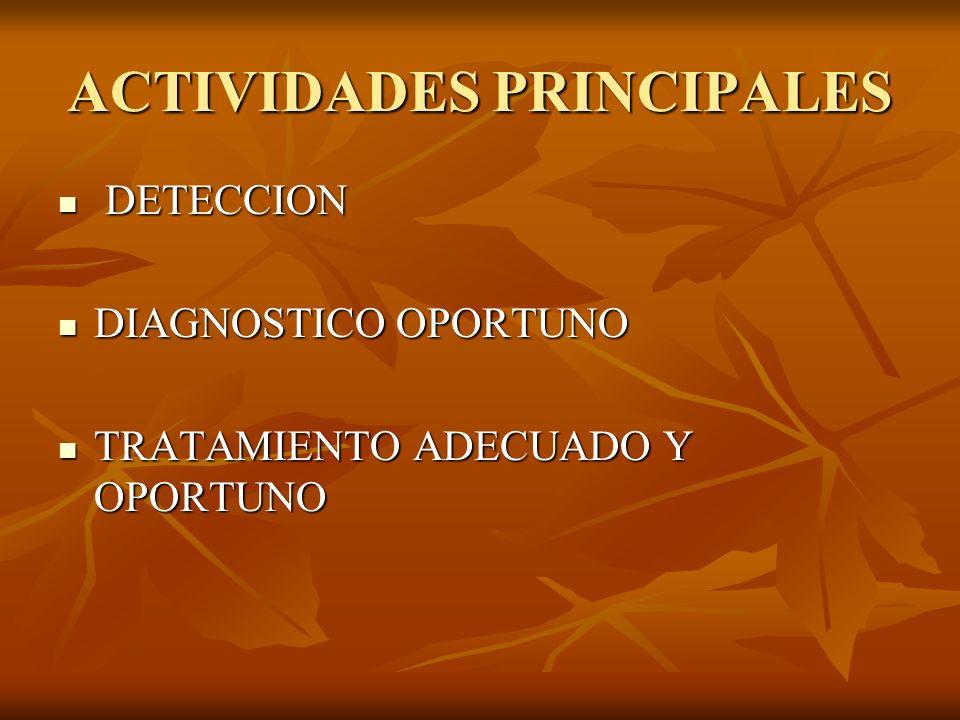 ACTIVIDADES PRINCIPALES DETECCION DETECCION DIAGNOSTICO OPORTUNO DIAGNOSTICO OPORTUNO TRATAMIENTO ADECUADO Y OPORTUNO TRATAMIENTO ADECUADO Y OPORTUNO