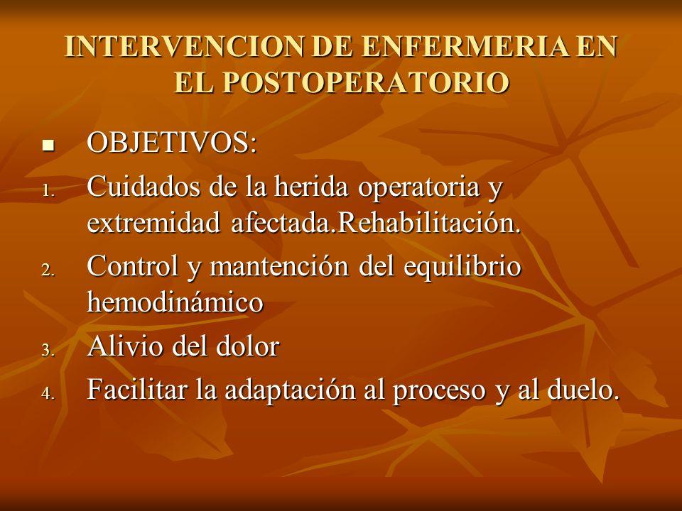 INTERVENCION DE ENFERMERIA EN EL POSTOPERATORIO OBJETIVOS: OBJETIVOS: 1. Cuidados de la herida operatoria y extremidad afectada.Rehabilitación. 2. Con