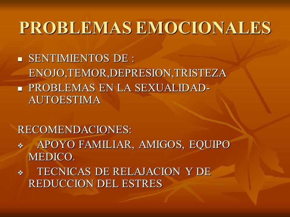 PROBLEMAS EMOCIONALES SENTIMIENTOS DE : SENTIMIENTOS DE : ENOJO,TEMOR,DEPRESION,TRISTEZA ENOJO,TEMOR,DEPRESION,TRISTEZA PROBLEMAS EN LA SEXUALIDAD- AU