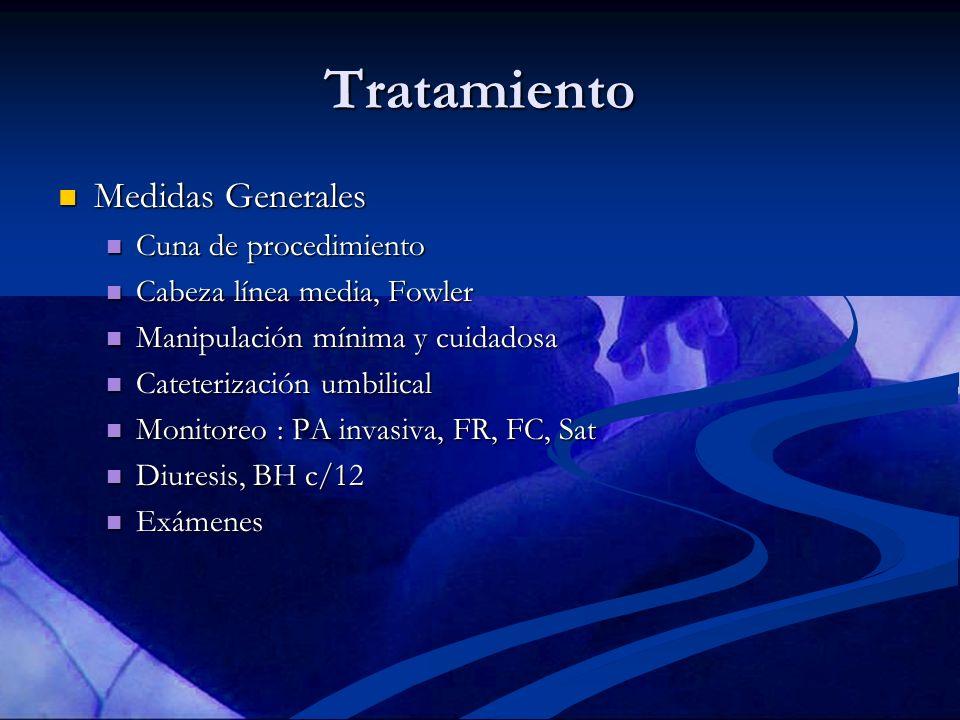 Tratamiento Medidas Generales Medidas Generales Cuna de procedimiento Cuna de procedimiento Cabeza línea media, Fowler Cabeza línea media, Fowler Mani
