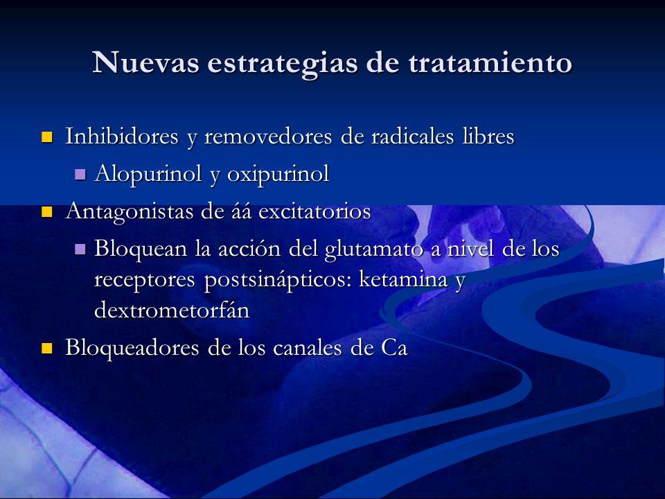 Nuevas estrategias de tratamiento Inhibidores y removedores de radicales libres Inhibidores y removedores de radicales libres Alopurinol y oxipurinol
