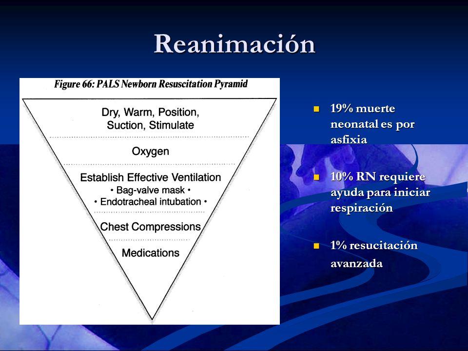Reanimación 19% muerte neonatal es por asfixia 10% RN requiere ayuda para iniciar respiración 1% resucitación avanzada