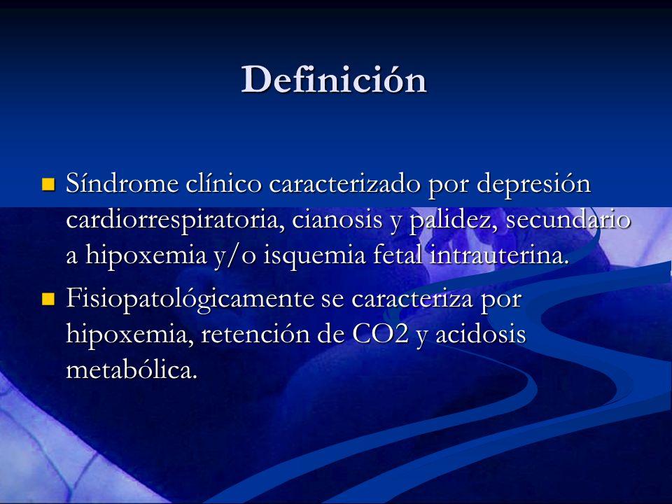 Definición Síndrome clínico caracterizado por depresión cardiorrespiratoria, cianosis y palidez, secundario a hipoxemia y/o isquemia fetal intrauterin