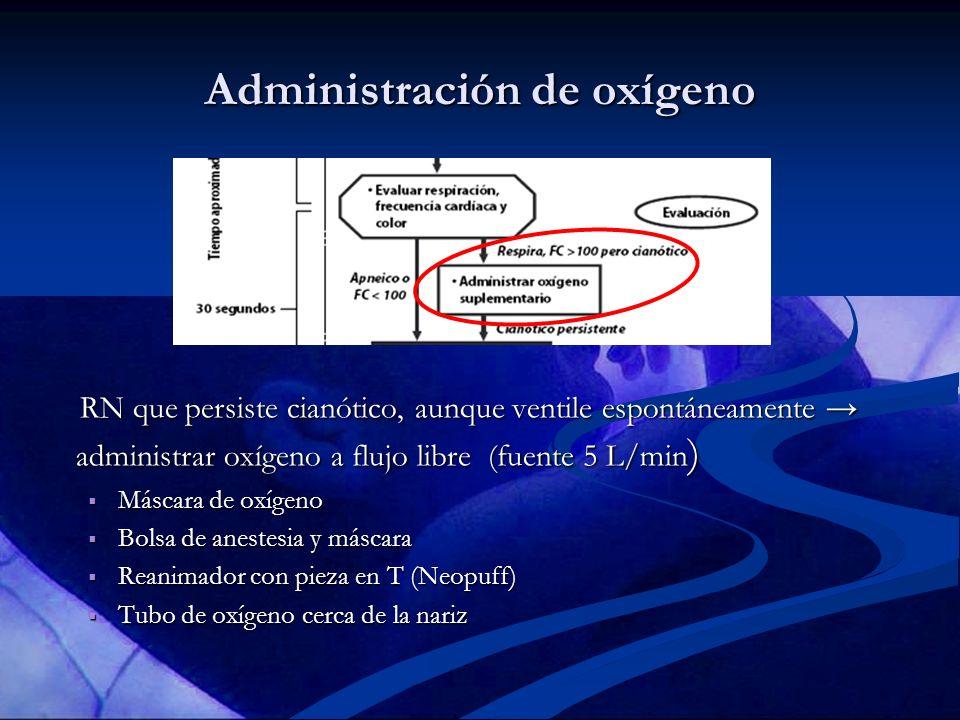 Administración de oxígeno RN que persiste cianótico, aunque ventile espontáneamente administrar oxígeno a flujo libre (fuente 5 L/min ) RN que persist