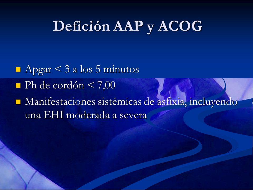 Defición AAP y ACOG Apgar < 3 a los 5 minutos Apgar < 3 a los 5 minutos Ph de cordón < 7,00 Ph de cordón < 7,00 Manifestaciones sistémicas de asfixia,