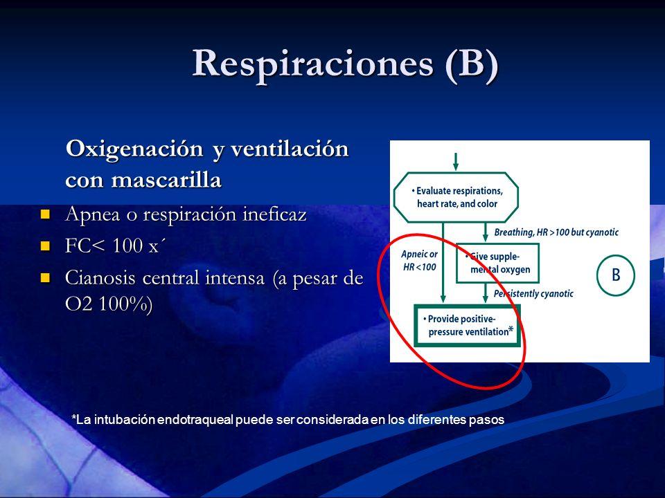 *La intubación endotraqueal puede ser considerada en los diferentes pasos Respiraciones (B) Oxigenación y ventilación con mascarilla Oxigenación y ven