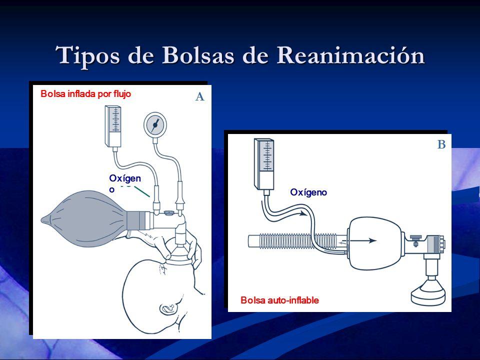 Tipos de Bolsas de Reanimación A B Bolsa inflada por flujo Oxígen o Bolsa auto-inflable