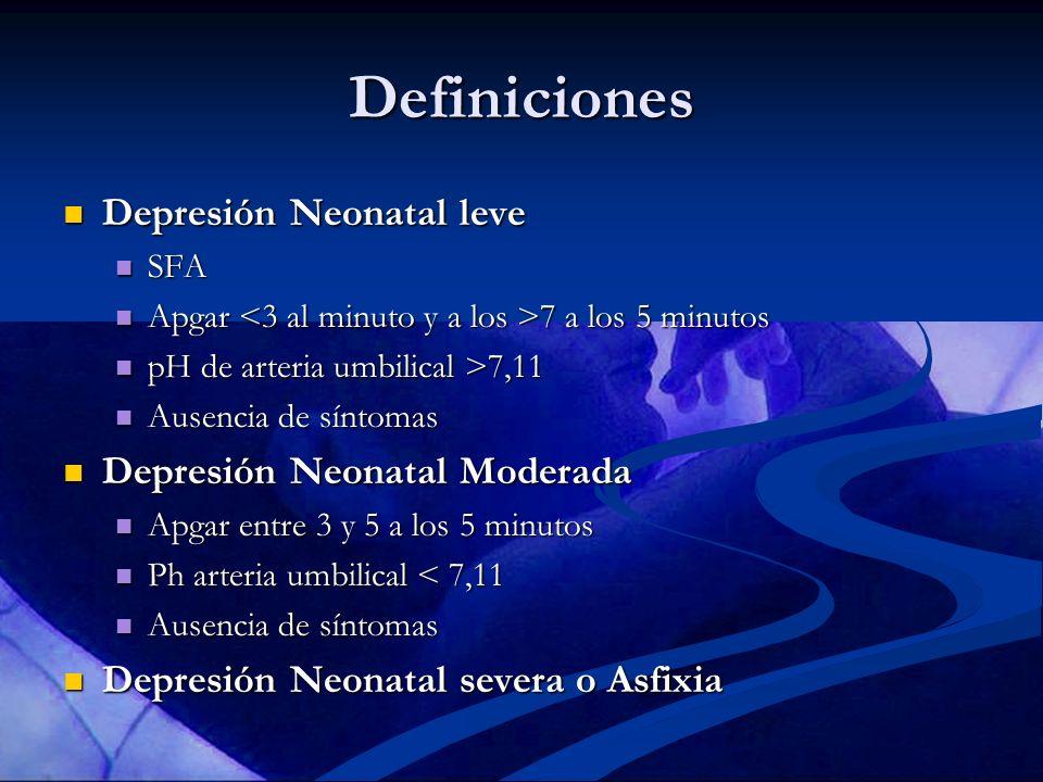 Definiciones Depresión Neonatal leve Depresión Neonatal leve SFA SFA Apgar 7 a los 5 minutos Apgar 7 a los 5 minutos pH de arteria umbilical >7,11 pH