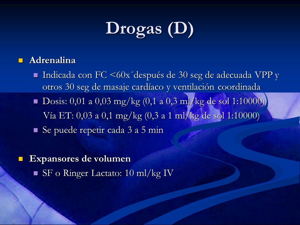 Drogas (D) Adrenalina Adrenalina Indicada con FC <60x´después de 30 seg de adecuada VPP y otros 30 seg de masaje cardíaco y ventilación coordinada Ind