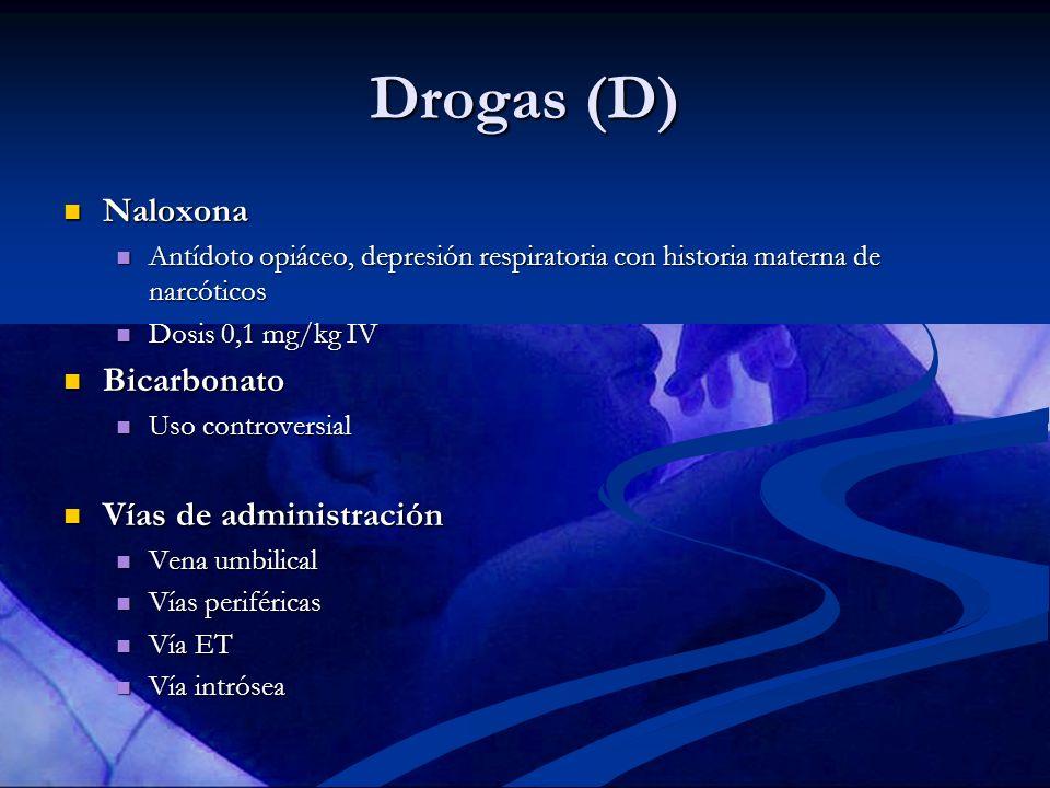 Drogas (D) Naloxona Naloxona Antídoto opiáceo, depresión respiratoria con historia materna de narcóticos Antídoto opiáceo, depresión respiratoria con