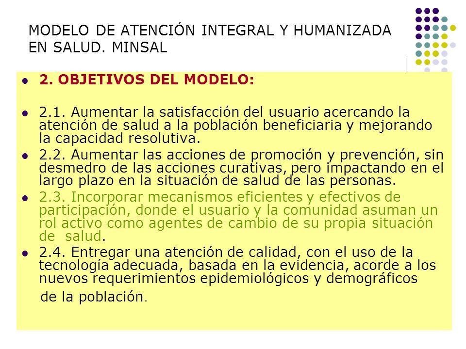 MODELO DE ATENCIÓN INTEGRAL Y HUMANIZADA EN SALUD. MINSAL 2. OBJETIVOS DEL MODELO: 2.1. Aumentar la satisfacción del usuario acercando la atención de