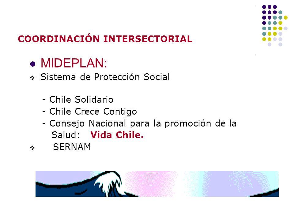 COORDINACIÓN INTERSECTORIAL MIDEPLAN: Sistema de Protección Social - Chile Solidario - Chile Crece Contigo - Consejo Nacional para la promoción de la