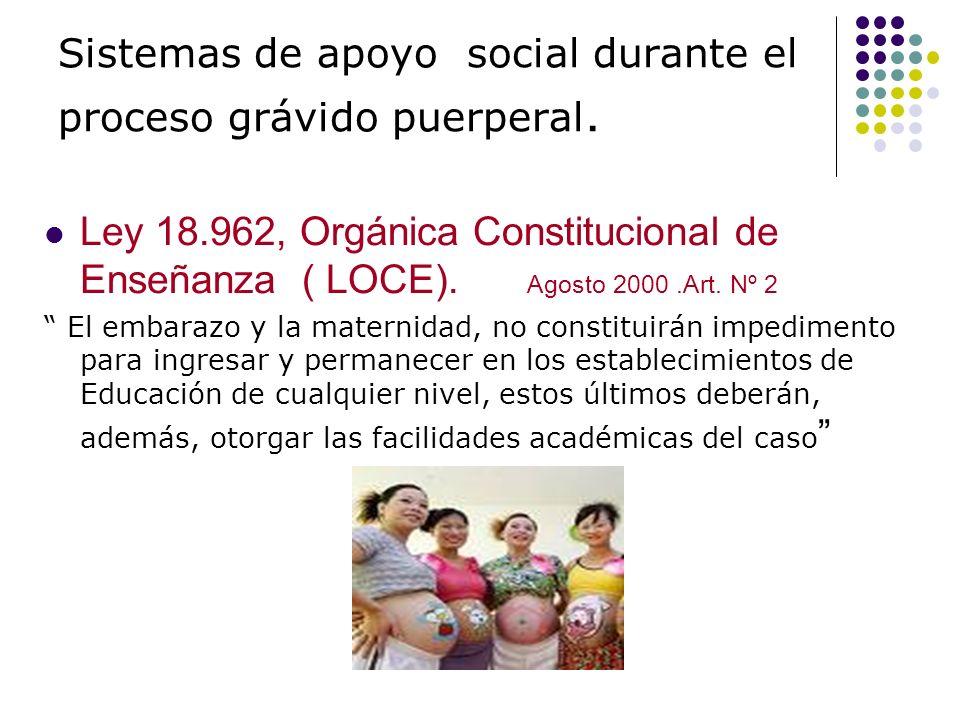 Sistemas de apoyo social durante el proceso grávido puerperal. Ley 18.962, Orgánica Constitucional de Enseñanza ( LOCE). Agosto 2000.Art. Nº 2 El emba
