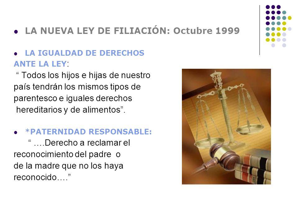 LA NUEVA LEY DE FILIACIÓN: Octubre 1999 LA IGUALDAD DE DERECHOS ANTE LA LEY : Todos los hijos e hijas de nuestro país tendrán los mismos tipos de pare
