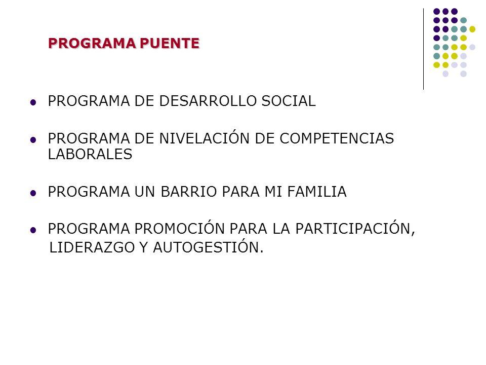 PROGRAMA DE DESARROLLO SOCIAL PROGRAMA DE NIVELACIÓN DE COMPETENCIAS LABORALES PROGRAMA UN BARRIO PARA MI FAMILIA PROGRAMA PROMOCIÓN PARA LA PARTICIPA