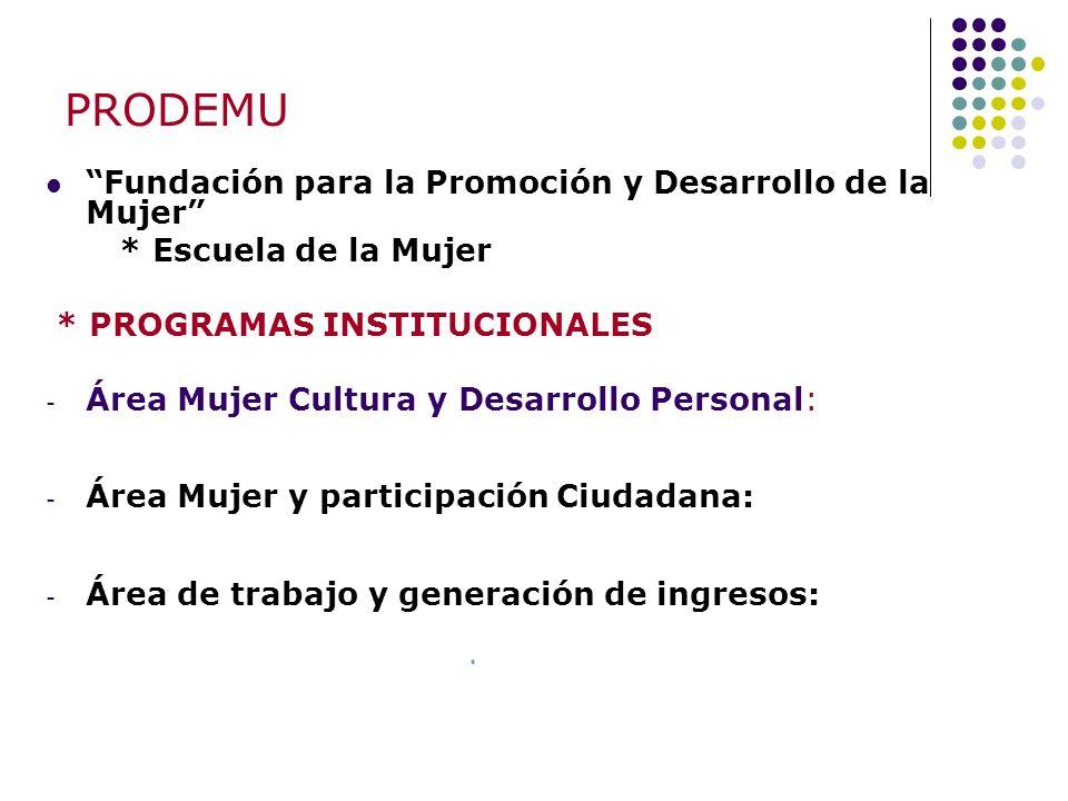 PRODEMU Fundación para la Promoción y Desarrollo de la Mujer * Escuela de la Mujer * PROGRAMAS INSTITUCIONALES - Área Mujer Cultura y Desarrollo Perso
