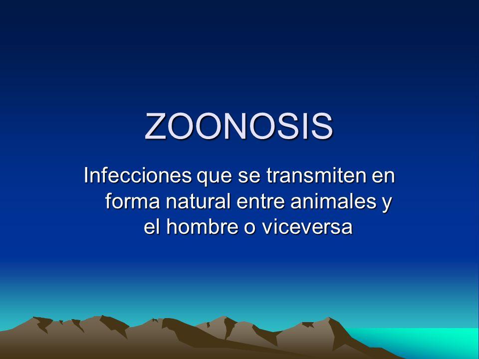 ZOONOSIS Infecciones que se transmiten en forma natural entre animales y el hombre o viceversa